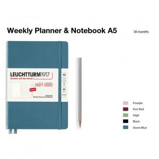 LEUCHTTURM1917 Medium (A5) Weekly Planner 2022& Notebook 18 maanden
